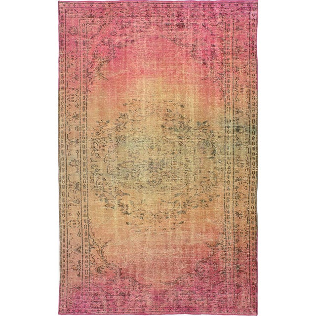 "Pink Vintage Turkish Overdyed Rug - 5'1"" X 8'1"" - Image 1 of 2"