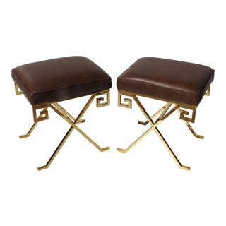 Jean Michel Frank Style Asian Modern Stools - A Pair