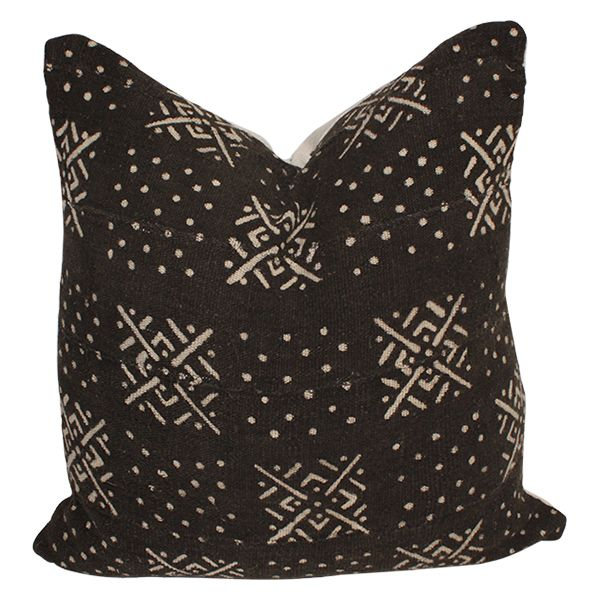 Image of Vintage African Black Mud Cloth Pillow