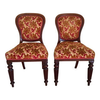 Antique Victorian Style Wood & Velvet Chairs - A Pair