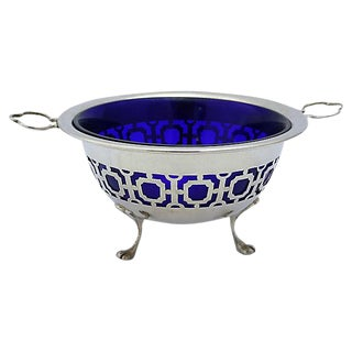 English Silver-Plate & Cobalt Bowl