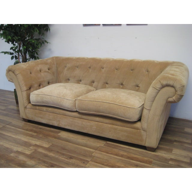 Cream Tufted Chenille Round Arm Sofa by Bauhaus - Image 4 of 5