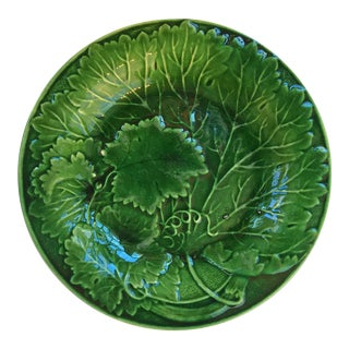 English Green Majolica Plate