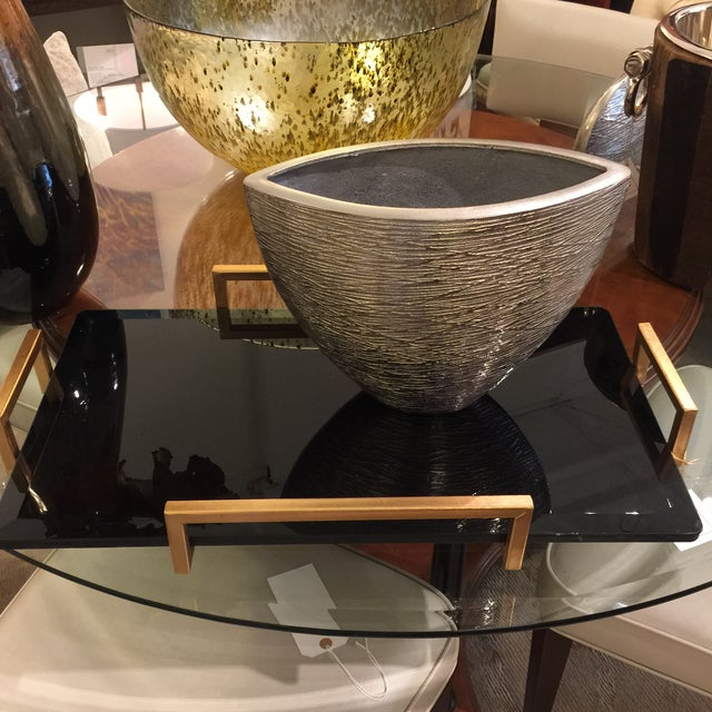Gold Metal Handled Black Beveled Glass Tray - Image 8 of 8