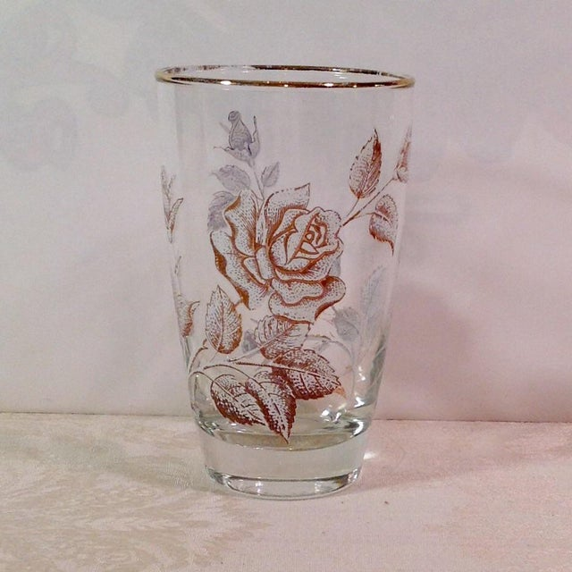 Mid-Century White Rose & Gold Glasses - Set of 14 - Image 5 of 7