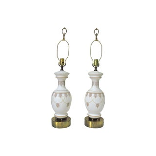 Decorated Opaline Lamps- A Pair