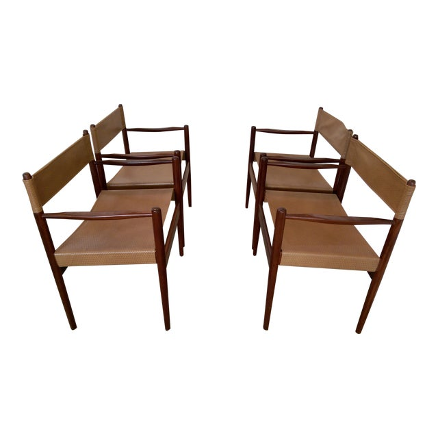 Arne Norell-Style Safari Sling Rosewood Chairs - Set of 4 - Image 1 of 8