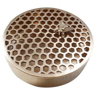 Vintage Brass Bee & Honeycomb Potpourri Box