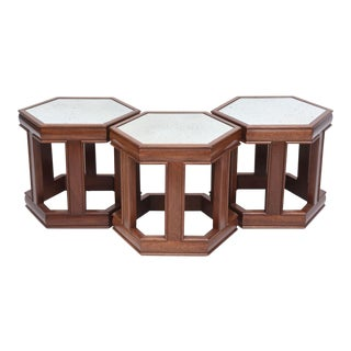 Mahogany and Mirrored Occasional Tables