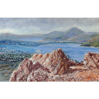 Greek Island of Patmos Acrylic Painting