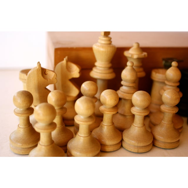 Mid-century Carved Wood Chess Pieces With Box - Image 3 of 5