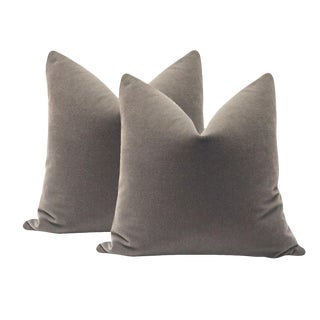 Gray Mohair Velvet Pillows - A Pair