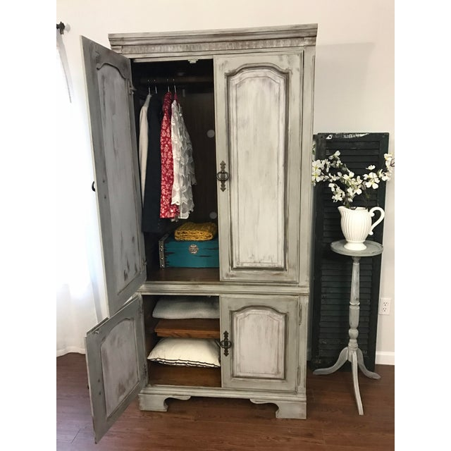 Distressed Shabby Chic Armoire - Image 8 of 11