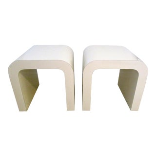 Karl Springer Style Off-White Waterfall Side Tables - A Pair