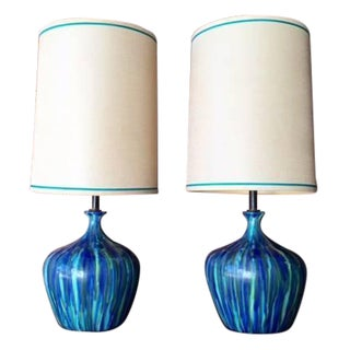 Mid-Century Ceramic Drip Glaze Lamps - A Pair
