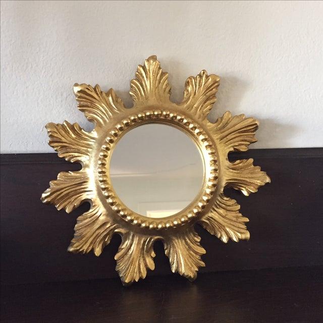 Small gold sunburst mirror chairish for Small gold mirror