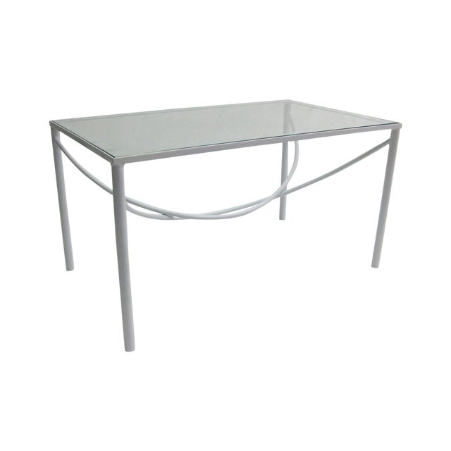 White Lacquer Bent Steel Coffee Table Chairish