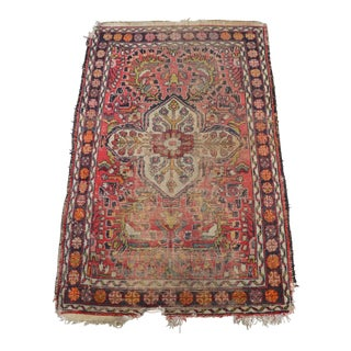 "Small Distressed Vintage Persian Rug - 3'1"" X 4'11"""