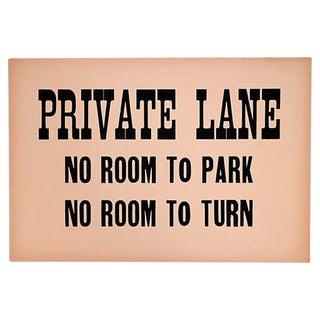 Vintage Private Lane Sign