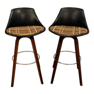 Mid-Century Chrome & Walnut Swivel Bar Stools - A Pair