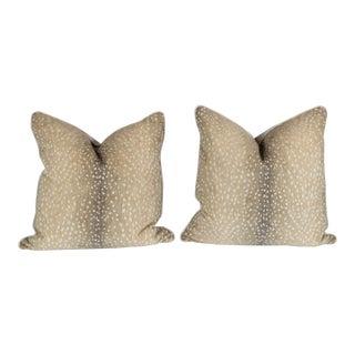 Stone Chenille & Linen Antelope Pillows - a Pair