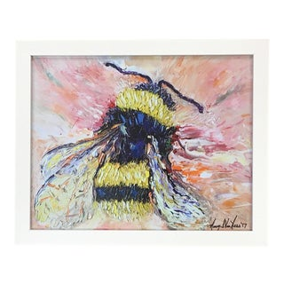 Bumble Bee Oil Painting Print Framed by Nancy T. Van Ness