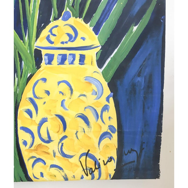 Cheerful French Salon Scene in Blue & Yellow - Image 8 of 10