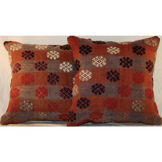 Vintage Handmade Kilim Pillows - a Pair - Image 3 of 7