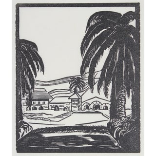 With Palm Trees and Hills Print by Mary Watterick Evans