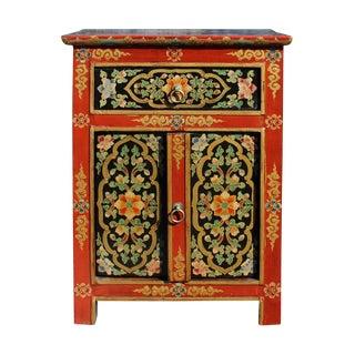 Tibetan Orange Red Black Floral End Table Nightstand