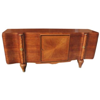 French Art Deco Sideboard / Buffet Jules Leleu Palisander Mother of Pearl Inlaid Circa 1940s