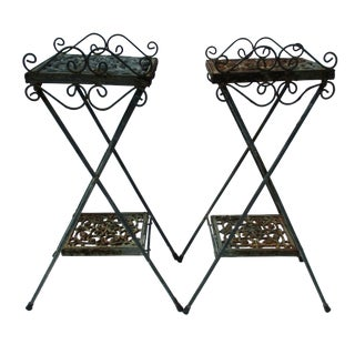 Shabby Chic Boho Iron Plant Stands - Pair