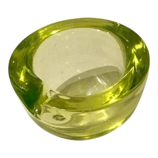 1950s Murano Uranium Green & Lemon Yellow Bowl