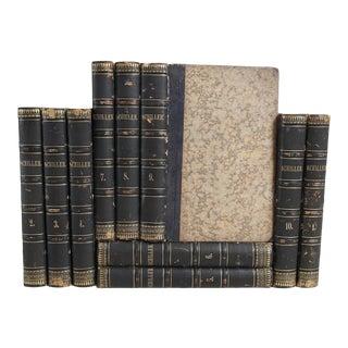 German Antique Leather Books: Friedrich Schiller - Set of 10