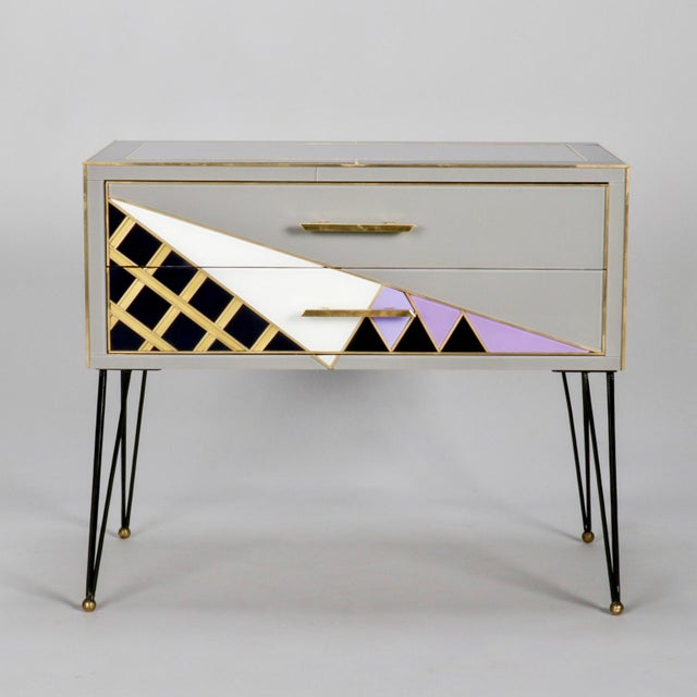 Pair of Italian Two-Drawer Cabinets with Murano Glass and Brass Inlays - Image 10 of 11