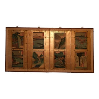 Japanese Painted Screen 4 Panel Wall Hanging