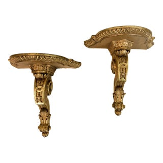Italian Gilt Teracotta Wall Brackets - A Pair