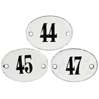 Vintage French Hotel Room Numbers - Set of 3