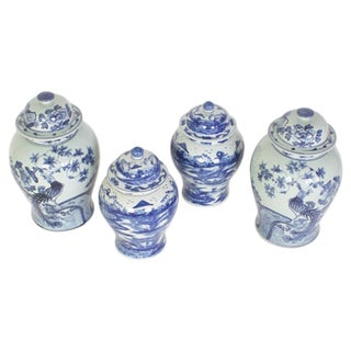 Two Different Pairs of Chinese Export Style Blue and White Porcelain Lidded Jars