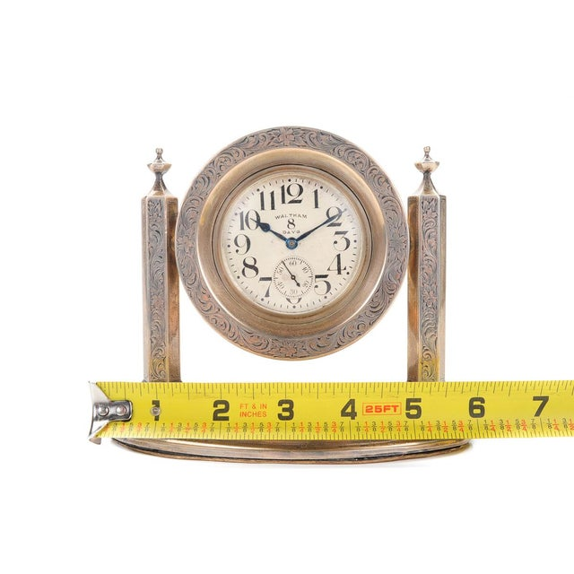 Waltham 8 Days Desk Clock With Sterling Stand - Image 9 of 9