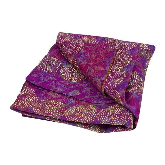 Lavender Chakra Silk Kantha Throw - Image 1 of 5