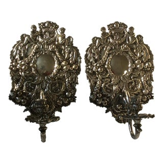 Antique Silvered Bronze Candle Wall Sconces