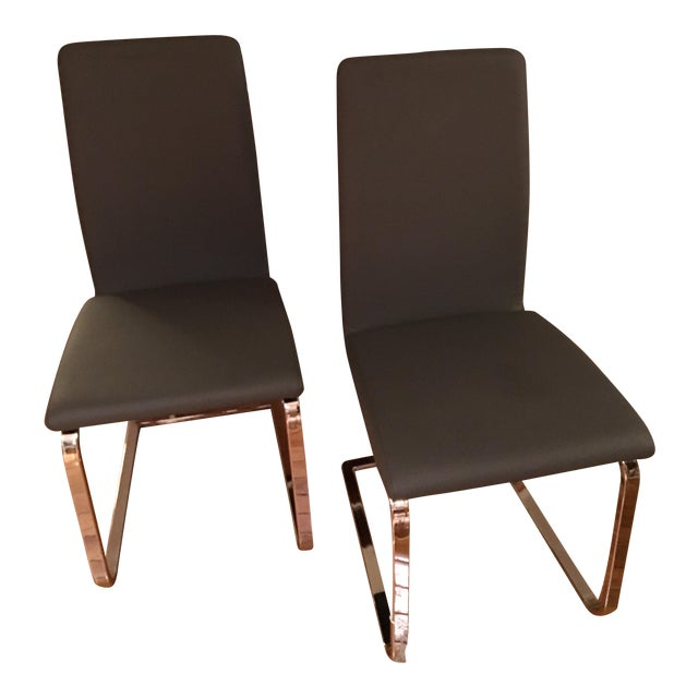 Contemporary high back grey dining chairs a pair chairish for Modern high back dining chairs