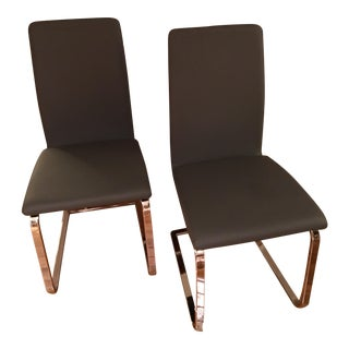 Contemporary High Back Grey Dining Chairs - a Pair