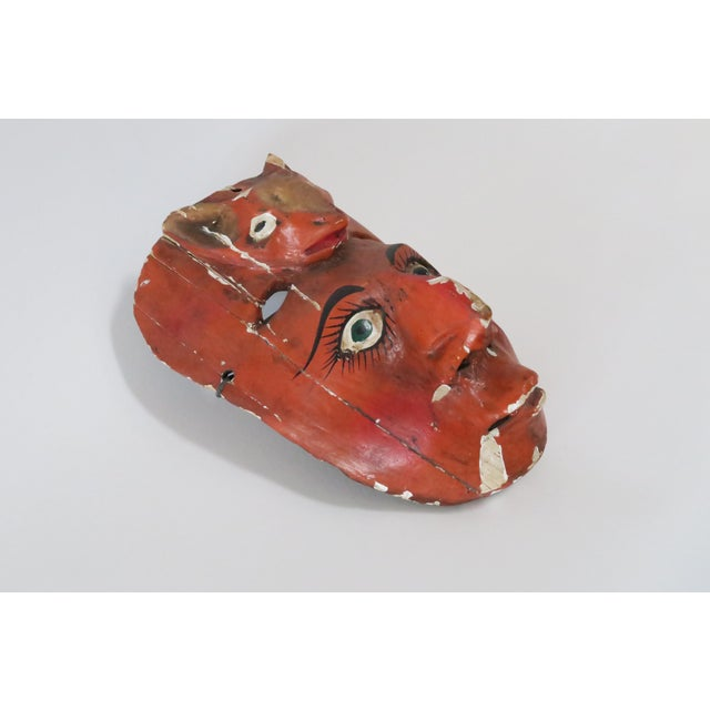 Red Wood Carved Mask - Image 6 of 6