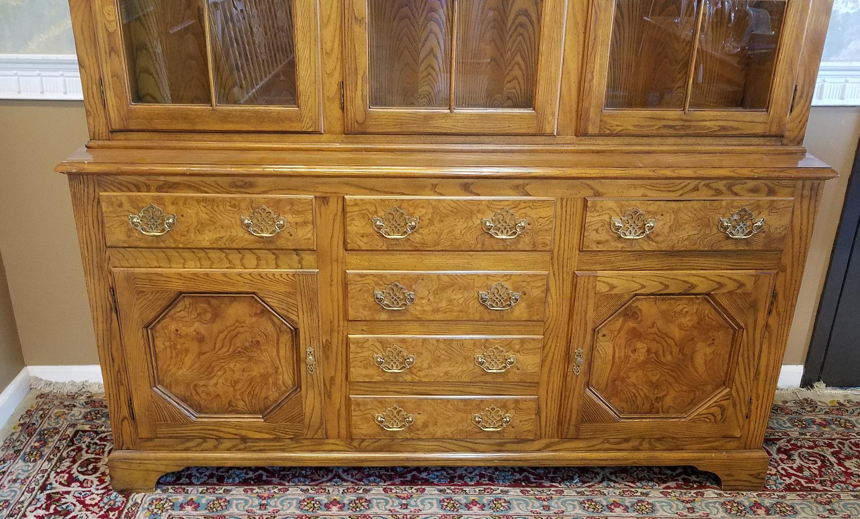 Baker Furniture Queen Anne Style Elm U0026 Oak China Cabinet   Image 4 Of 10