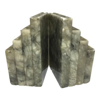 Marble Stacked Books Bookends - A Pair