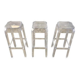 Clear Acrylic Modern Bar Stools - Set of 3