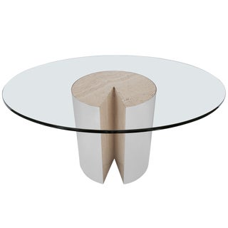 "Rare Leon Rosen ""Pie"" Travertine Chrome Dining Table for Pace"