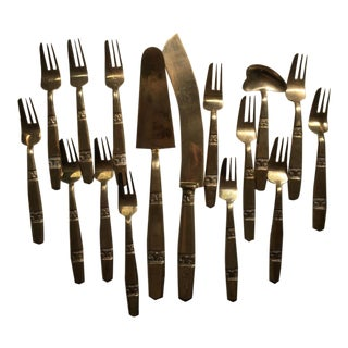 Thai Bronze Dessert Utensils - 16 Pieces